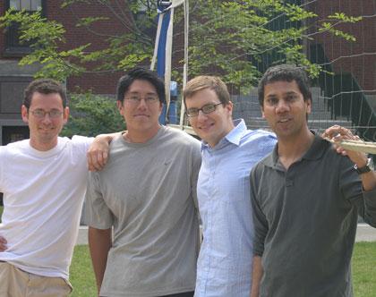 (l to r) Dinu F. Albeanu, Tomokazu F. Sato, Gabor C. Petzold, and Venkatesh N. Murthy