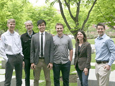 (l to r)  Prof. Adam Cohen (Co-Head Tutor, CPB), Prof. Vlad Denic (Head Tutor, MCB), Cody He, Caleb Irvine,  Prof. Rachelle Gaudet (Co-Head Tutor, CPB), Dr. Martin Samuels (MCB Advisor)