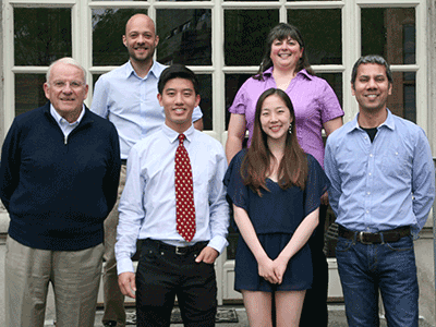 (l to r)  Prof. John Dowling, Dr. Ryan Draft (Neuro Advisor), Ned Lu, Vivian Hua, Dr. Laura Magnotti (Neuro Advisor), Prof. Venki Murthy (Head Tutor, Neurobiology)