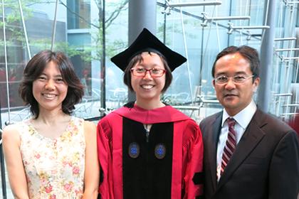 (l to r) Mitsuko Watabe-Uchida, Ju Tian, and Naoshige Uchida