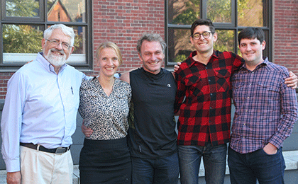 (l to r) Haim Sompolinsky, Eva A. Naumann, Florian Engert, Timothy W. Dunn, James E. Fitzgerald, and Jason Rihel (not shown)