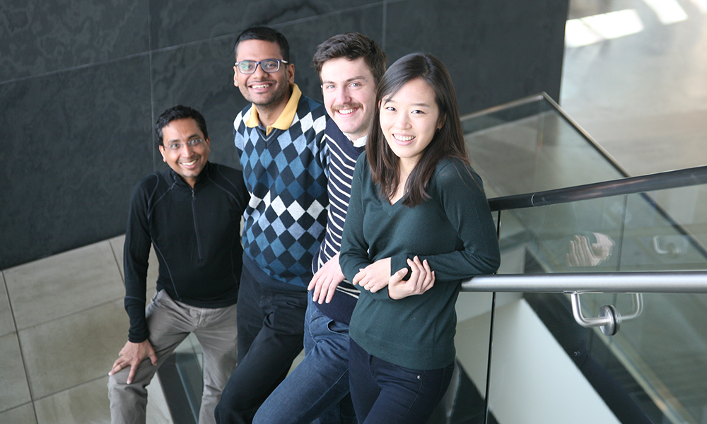(l to r) Sharad Ramanathan, Sandeep Choubey, Ethan Loew, and Sumin Jang