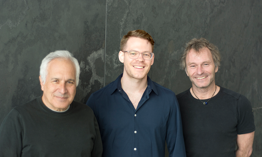 (l to r) Jeff Lichtman, David Hildebrand, and Florian Engert