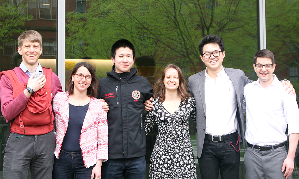 (l to r) Adam Cohen (CPB Co-Head Tutor) with Lionel, Rachelle Gaudet (CPB Co-Head Tutor), Alan Gao, Brittany Petros, Eric Li, and Marty Samuels (Assistant Director of Undergraduate Studies, MCB and CPB)