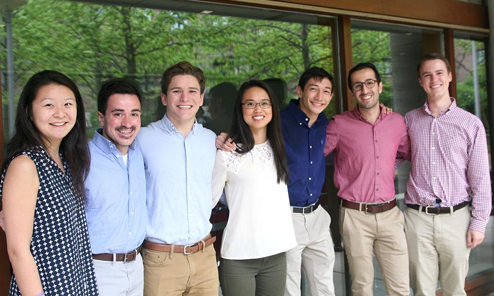 (l to r)Jenna Zhang (MCB), Geoffrey Martello (MCB), Henry Cousins (MCB), Jennifer Hao (MCB), Daniel Rubin (CPB), Mahan Nekoui (CPB), O'Neil Danis (CPB)