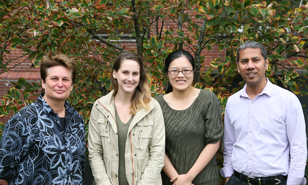 (l to r) Catherine Dulac, Jessica Osterhout, Ying Li, and Venki Murthy