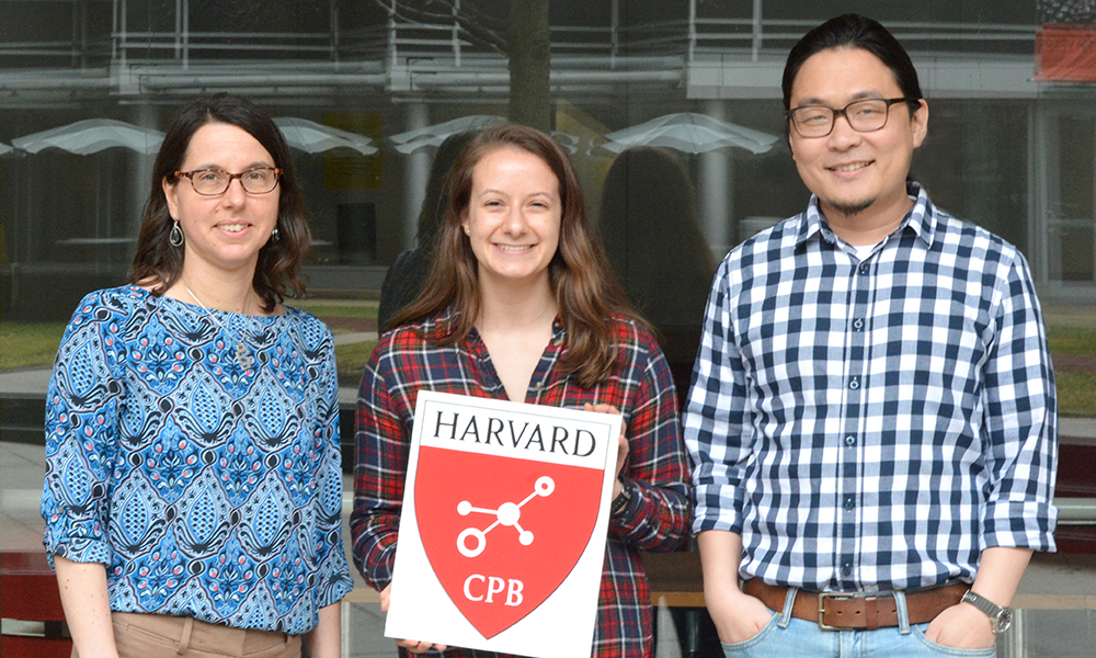 (l to r) Prof. Rachelle Gaudet (CPB Co-Head Tutor), Brittany Petros, and Dr. Dominic Mao
