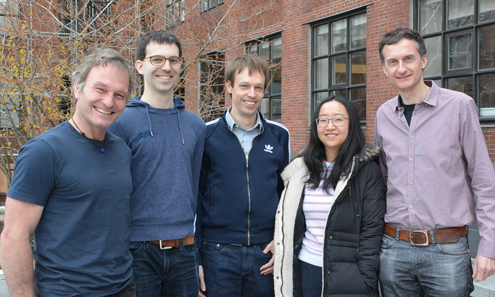 (l to r) Florian Engert, Drew Robson, Martin Haesemeyer, Jennifer Li, and Alex Schier