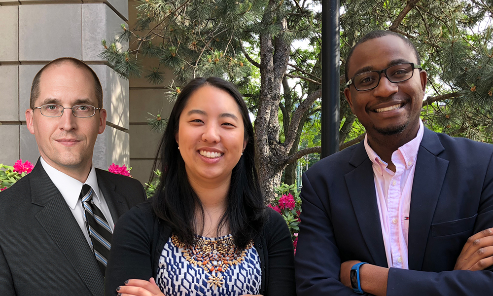 (l to r) Nathan Vanderford, Jessica Tsai, and Fanuel Muindi