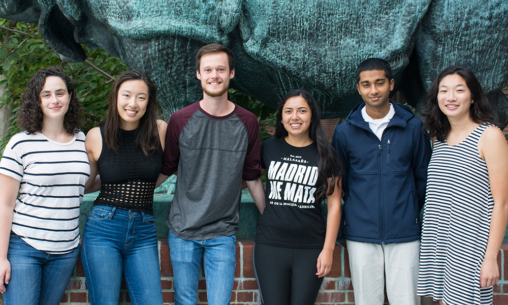 (l to r) Hope Merens, Karen Bao, Alex McQuown, Paula Pelayo, Easun Arunachalam, and Megan He
