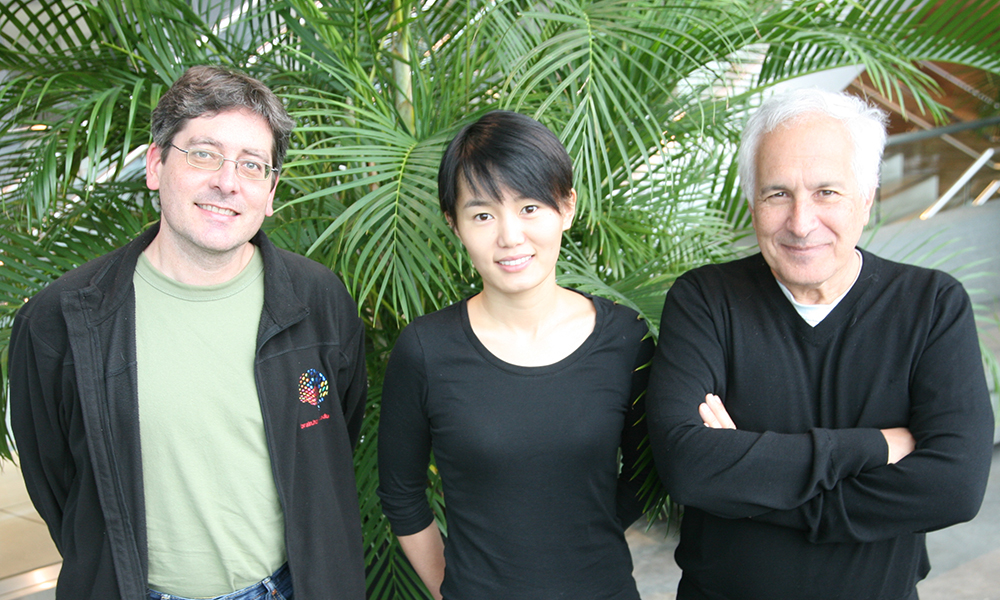 (l to r) Daniel Berger, Xiaotang Lu, and Jeff Lichtman