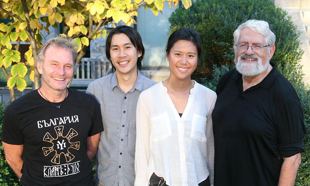 (l to r)Florian Engert,Aaron T Kuan, Xiuye Chen,andHaim Sompolinsky