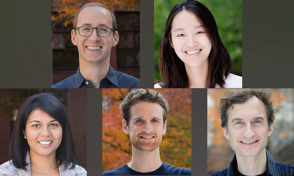 (tl to br) Jeff Farrell, Yiqun Wang, Bushra Raj, James Gagnon, and Alex Schier
