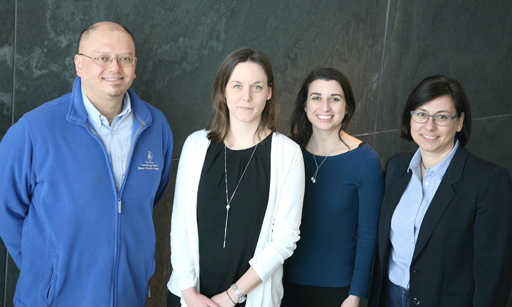 (l to r) Takao K. Hensch, Nathalie Picard, Anne E. Takesian, and Michela Fagiolini
