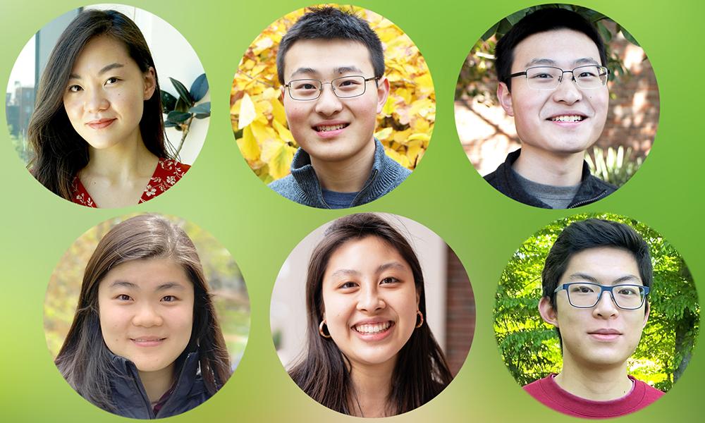 (top l to bottom r) Yi Hua Chen, Michael Gao, William Gao, Tessa Han, Allison Kao, and Alexander Ren